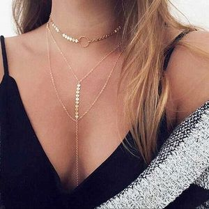 Jewelry - Boho Layered Coin Chain Choker Necklace